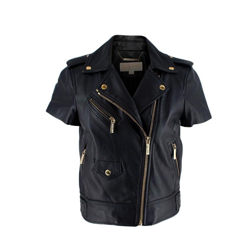 Michael Michael Kors Black Lamb Leather Short Sleeve Biker Jacket