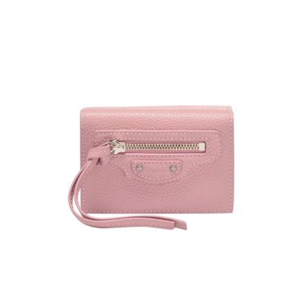 Balenciaga Pale Pink Grained Leather Mini Neo Wallet