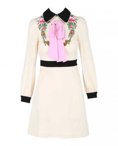 Gucci Floral Embroidered Ivory Pussybow Dress with Faux Pearl Collar