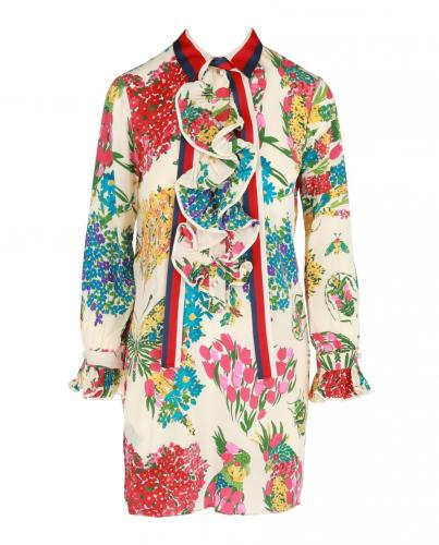 Gucci Corsage Print Web Bow Dress