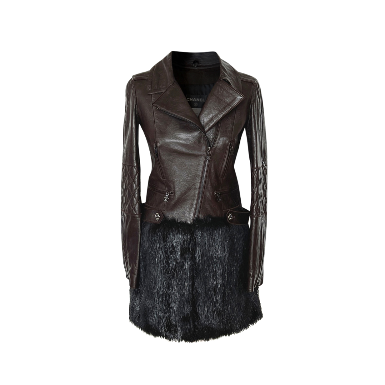 Chanel Arctic Collection Leather Biker Coat