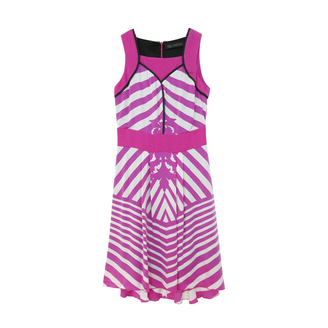 Versace Pink Striped Silk Blend Sleeveless Dress
