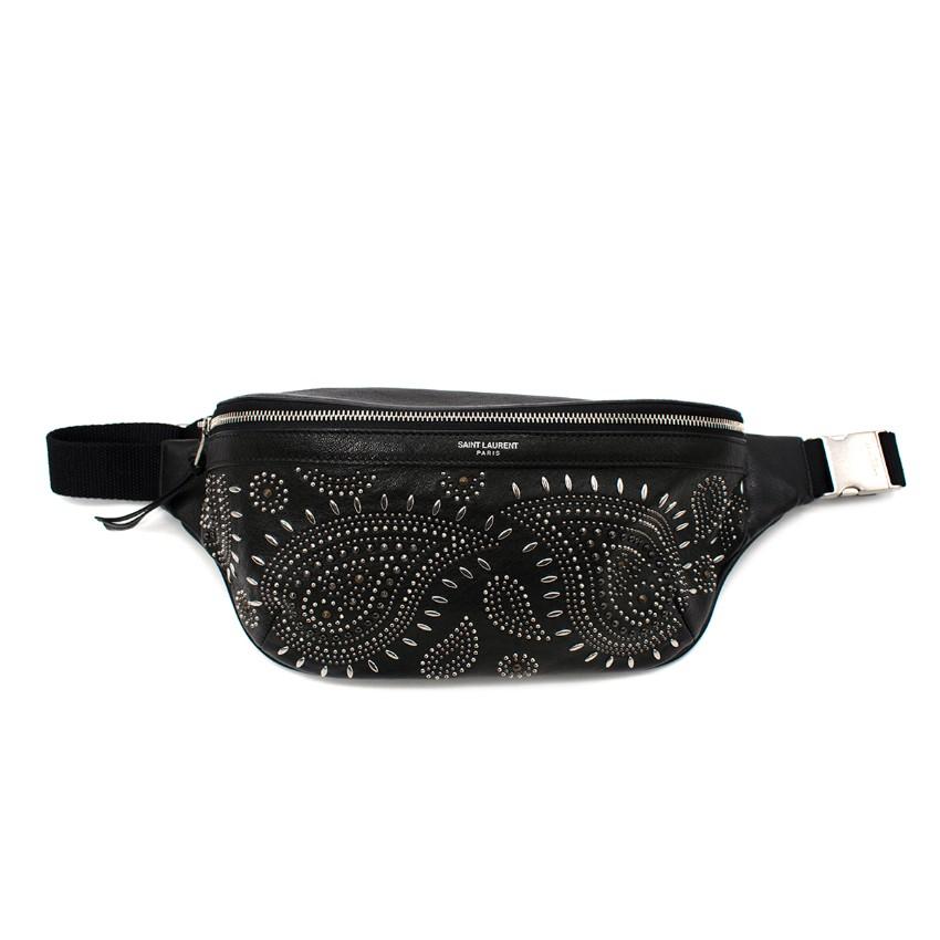 Saint Laurent Black Leather Studded Paisley Belt Bag