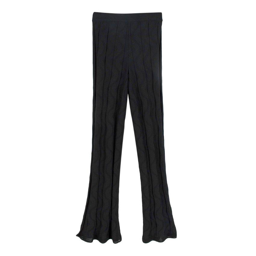 Missoni Black Linear Rib Flared Knit Trousers