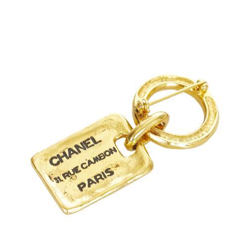 Chanel Rue Cambon Vintage Gold-Tone Brooch