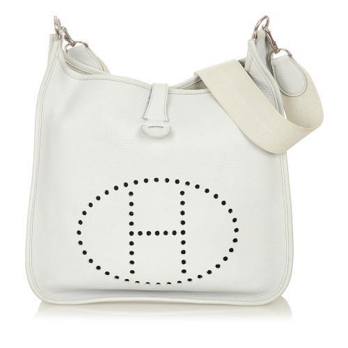 Hermes White Clemence Leather Evelyne I GM