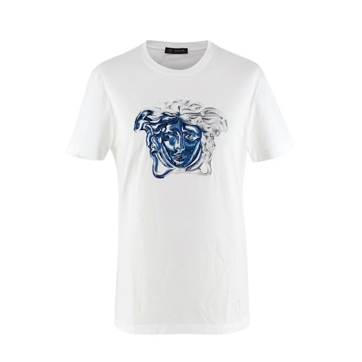 Versace Medusa Contrast Embroidered White T-shirt