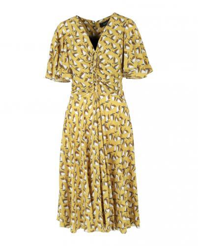 Gucci Cardamom Sailboat Print A-Line Silk Dress