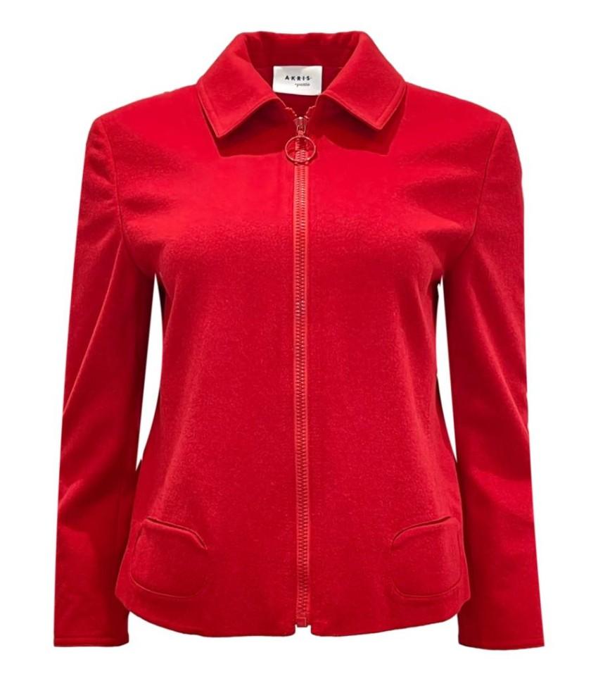 Akris Punto Wool & Angora Blend Red Zip Jacket