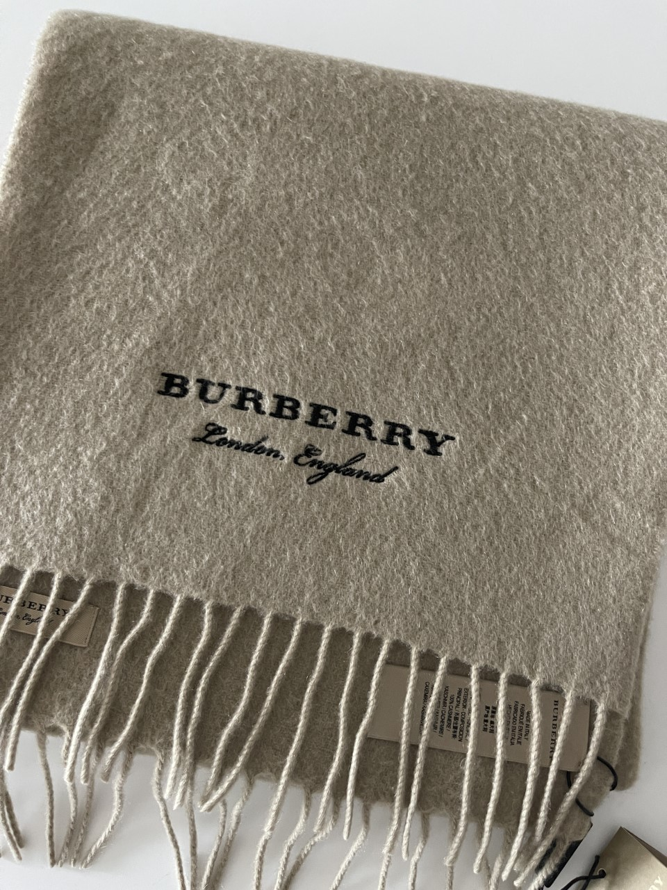 Burberry Nude Cashmere Embroidered Scarf