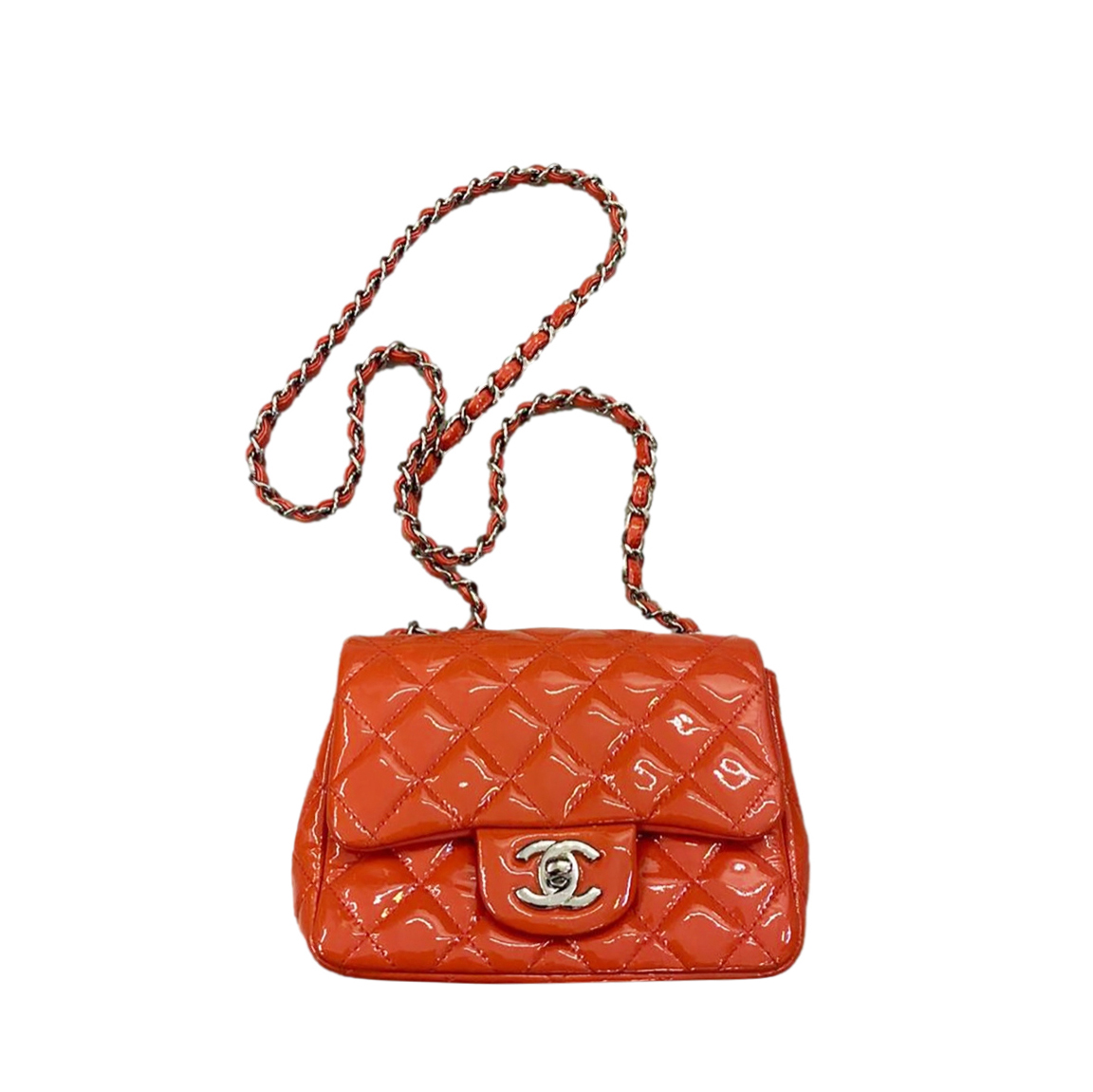 Chanel Timeless Patent Quilted Leather Coral Mini Flap Bag