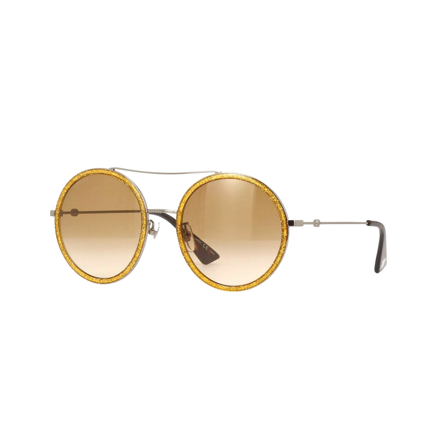 Gucci GG0061S Yellow Glitter Round Aviator Sunglasses