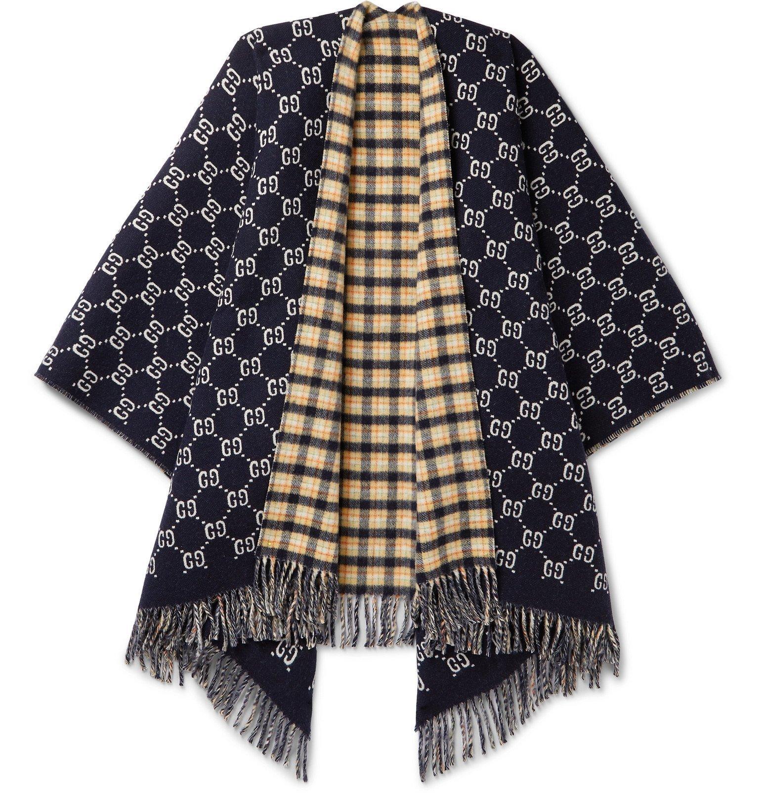Gucci Reversible Logo-Intarsia Wool Poncho