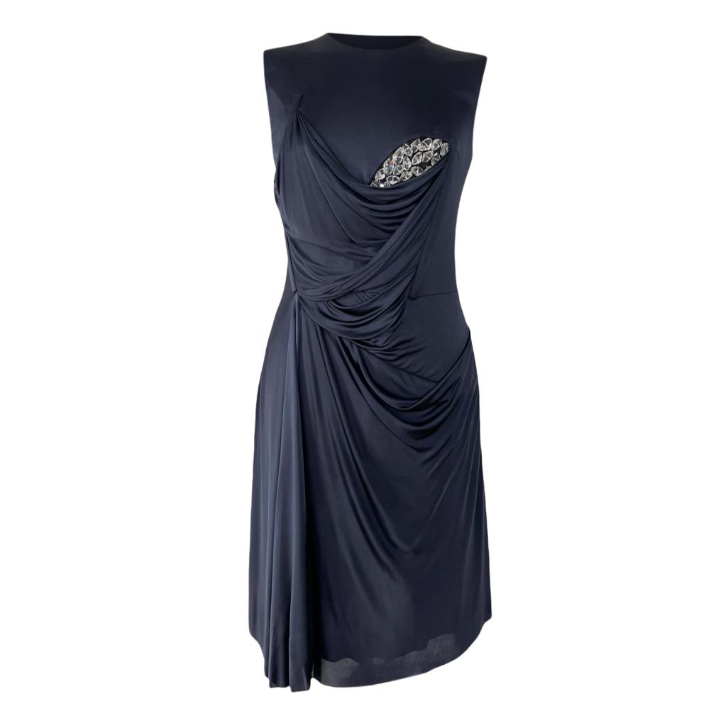 Marios Schwaab Navy Crystal Embellished Mini Dress