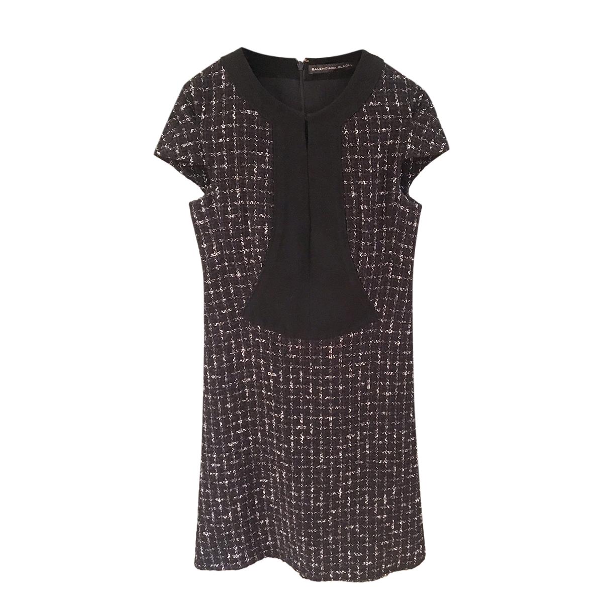 Balenciaga Black Tweed Shift Dress