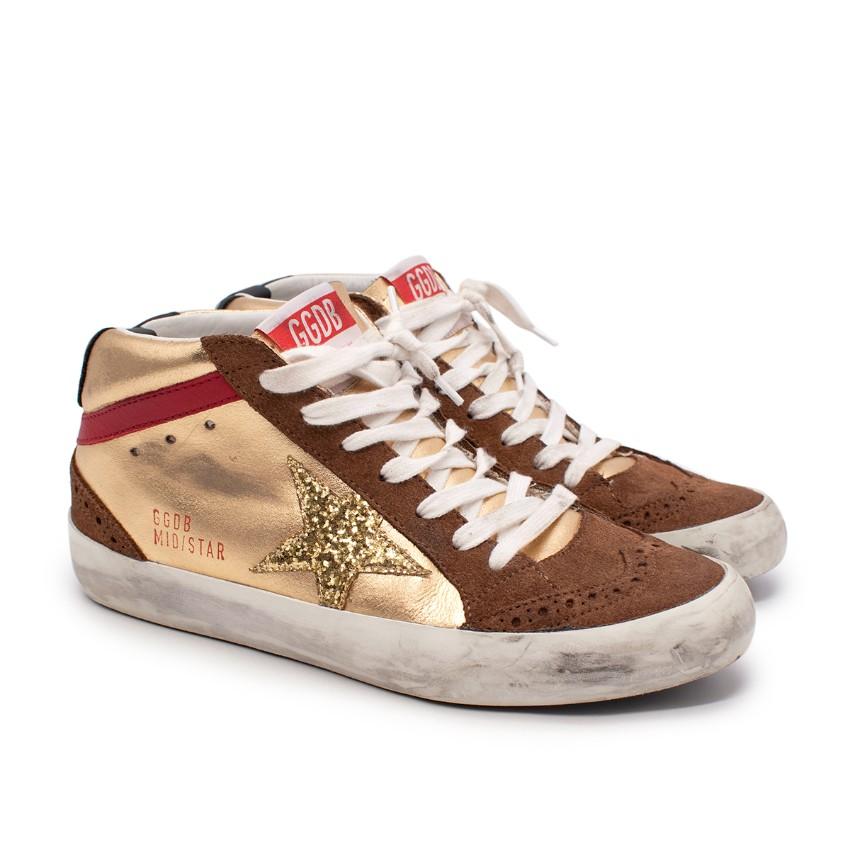 Golden Goose MidStar Gold Glitter Star Sneakers