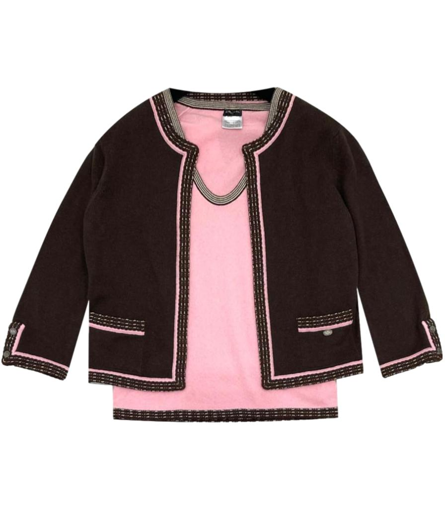 Chanel Brown & Pink Cashmere Knit Twin-Set