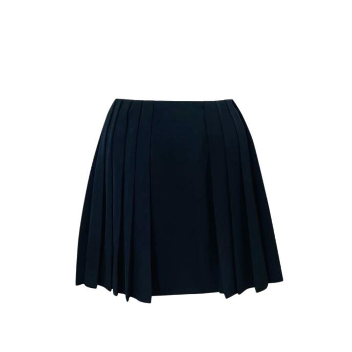 Alexander McQueen Black Virgin Wool Pleated Mini Skirt