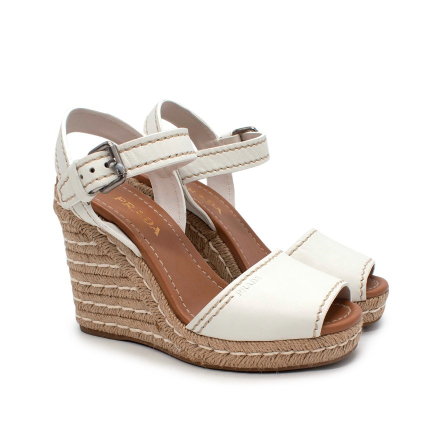 Prada White Leather Espadrille Wedge Sandals
