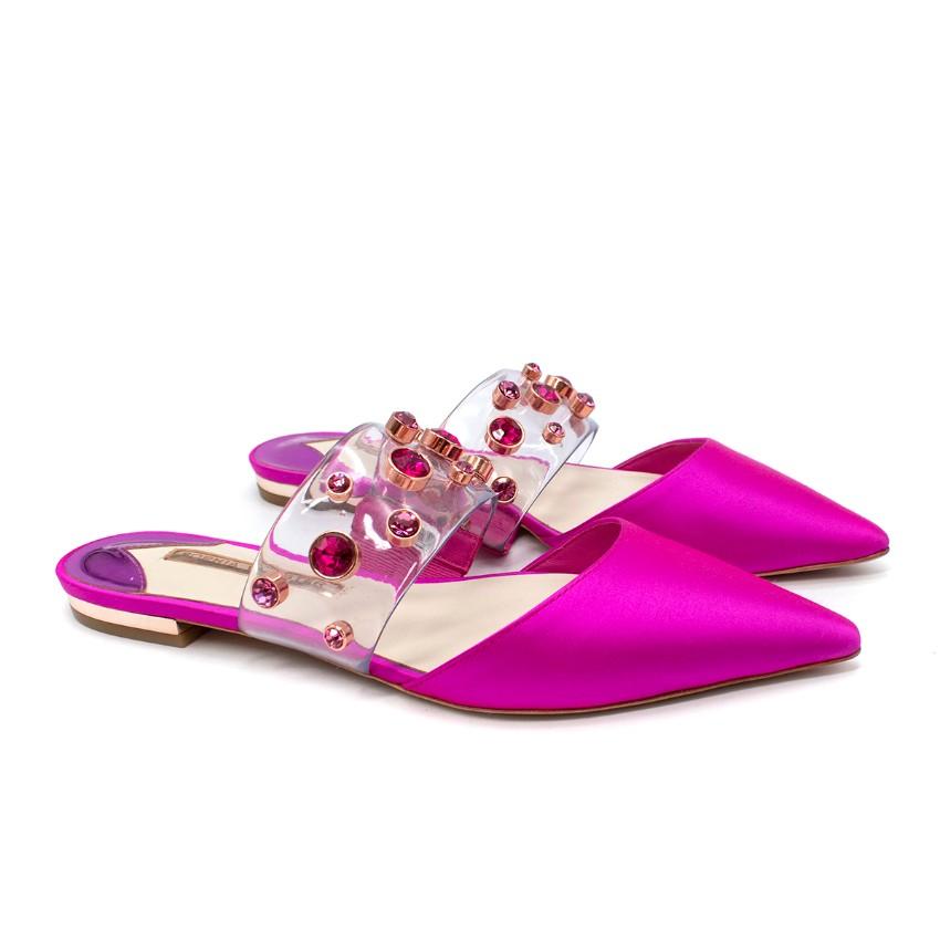 Sophia Webster Dina Pink Satin & Crystal Embellished PVC Flat Mules
