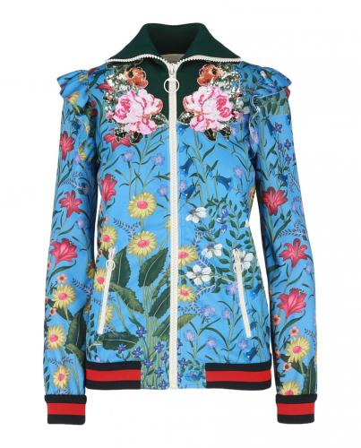 Gucci Blue Flora Zip Ruffled Jacket