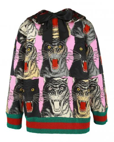 Gucci Pink Pussybow Tiger Faces Sweatshirt