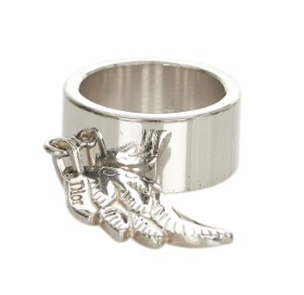 Dior Dangling Charm Silver Tone Ring - Size 7