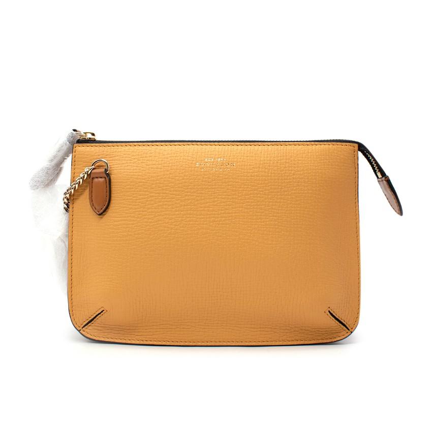 Smythson Concertina Ludlow Leather Mustard Yellow Crossbody Bag