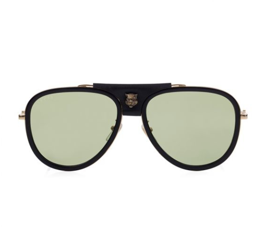 Gucci Classic Aviator Sunglasses with Leather Detail