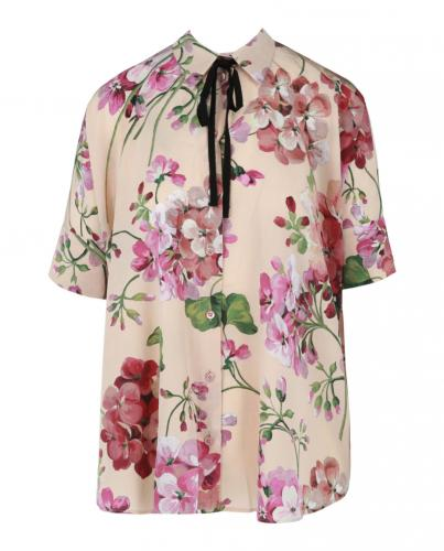 Gucci Floral Print Oversize Blouse with Neck Tie