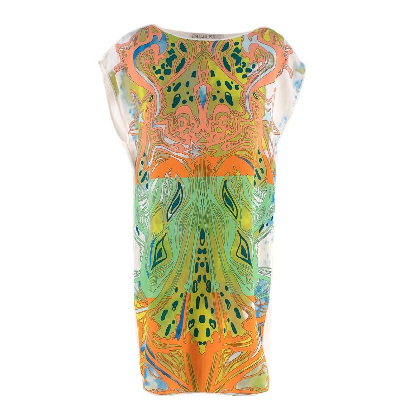 Emilio Pucci Silk Ivory & Orange/Lime Green Abstract Print Tunic