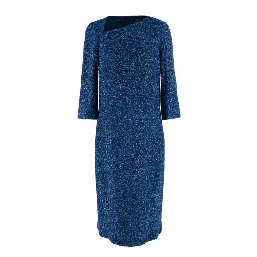 St. John Navy Sequin & Lurex Woven Knit Evening Dress
