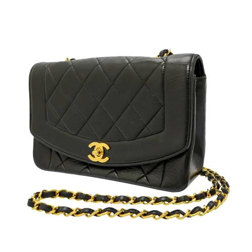 Chanel Vintage Black Leather Diana Flap Bag