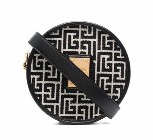 Balmain Bicolor jacquard 1945 circle bag