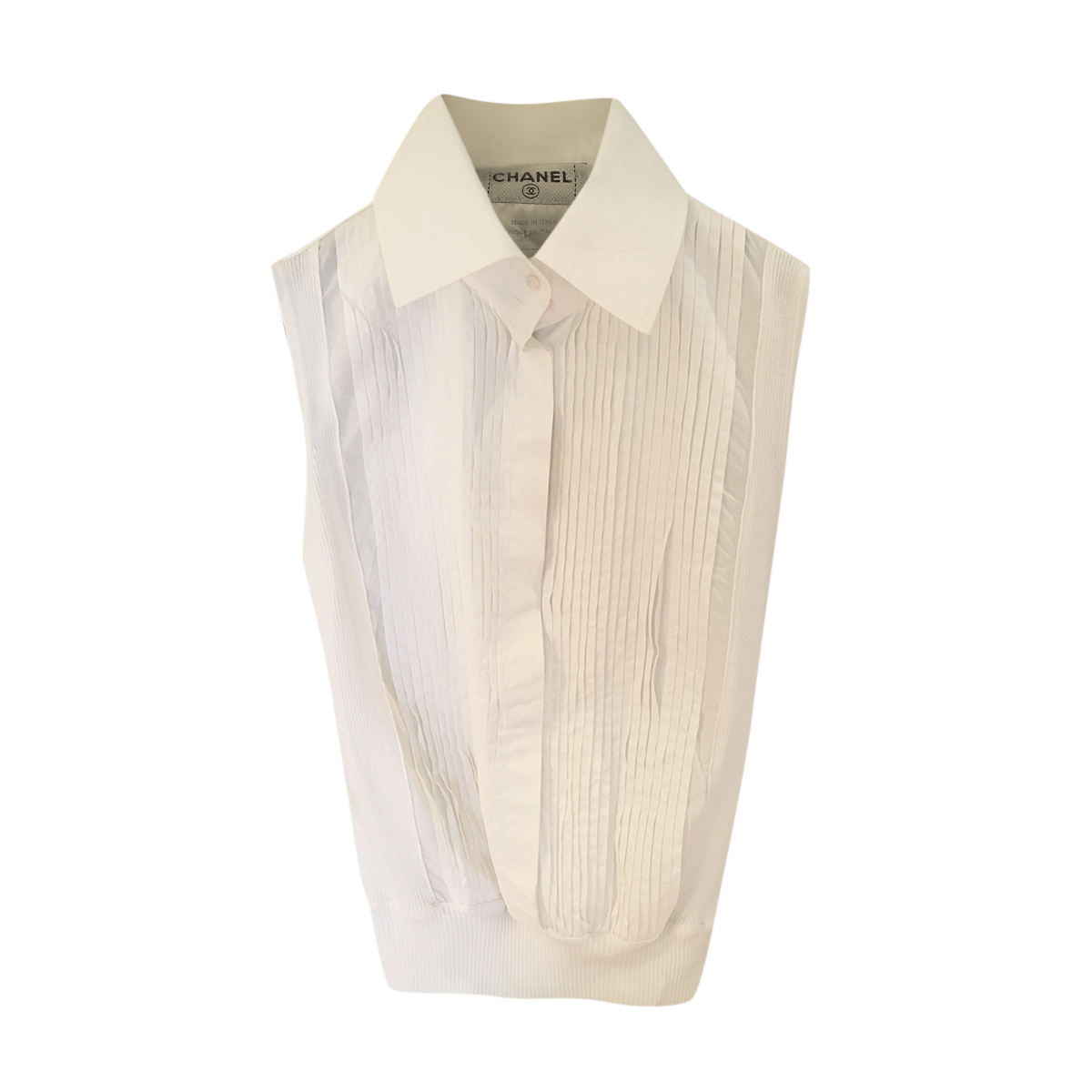Chanel White Pleated Cotton Sleeveless Top