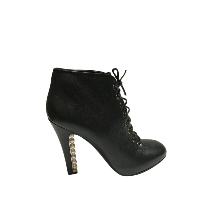 Chanel Pearl Heel Lace-Up Ankle Boots