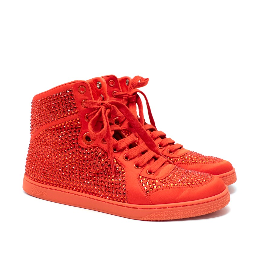 Gucci Vermillion Crystal-Embellished Satin High Top Sneakers