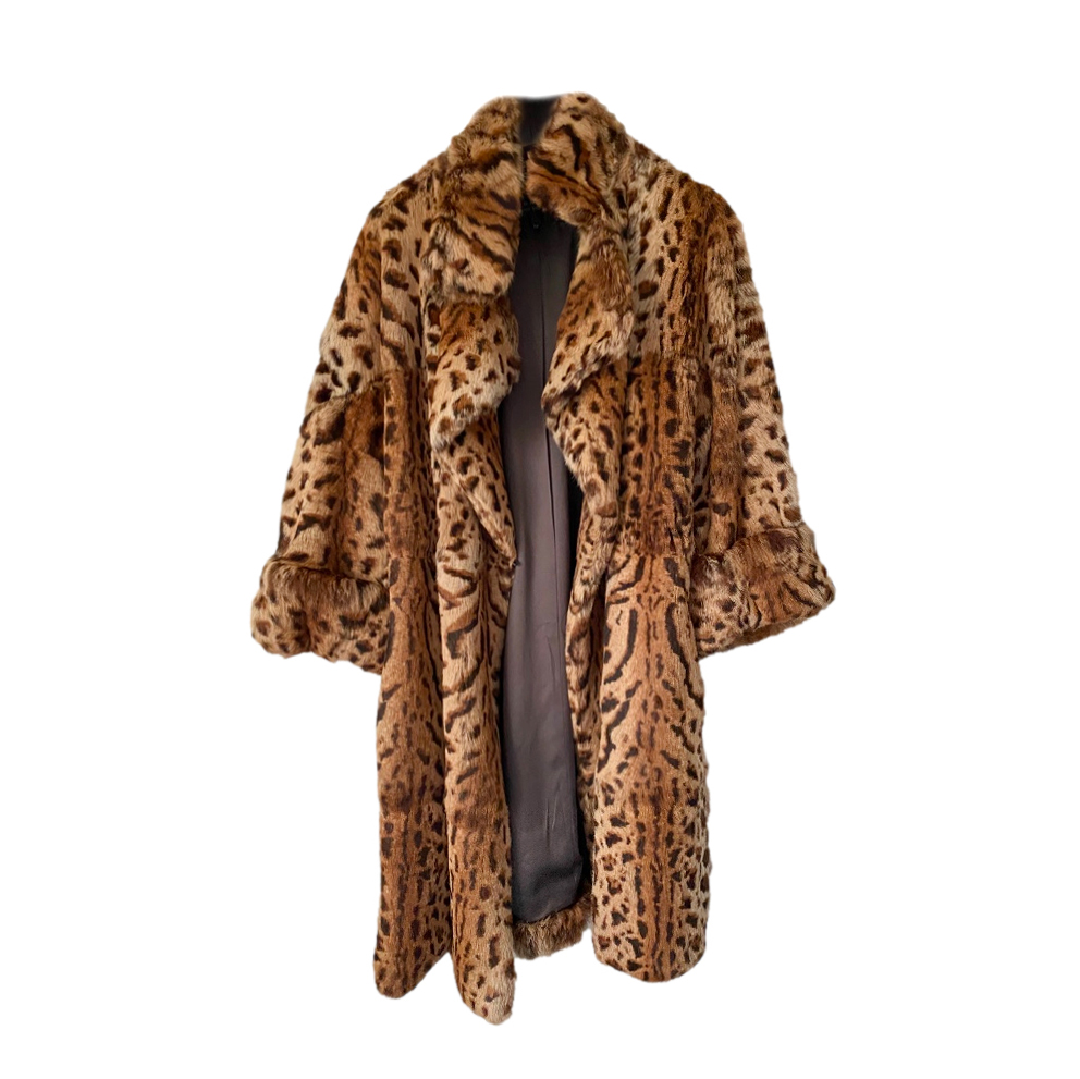 Barbara Bui Leopard Print Goat Fur Coat