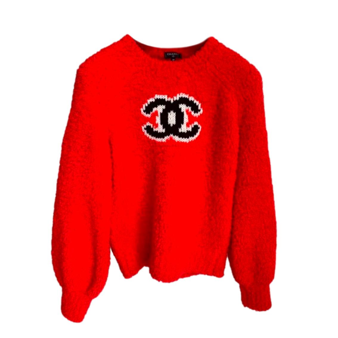Chanel Red CC Teddy Knit Jumper