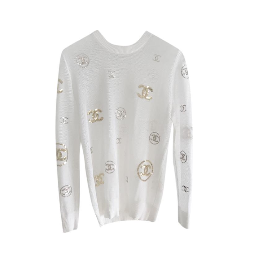 Chanel White Long Sleeve Sequin CC Embellished Jumper