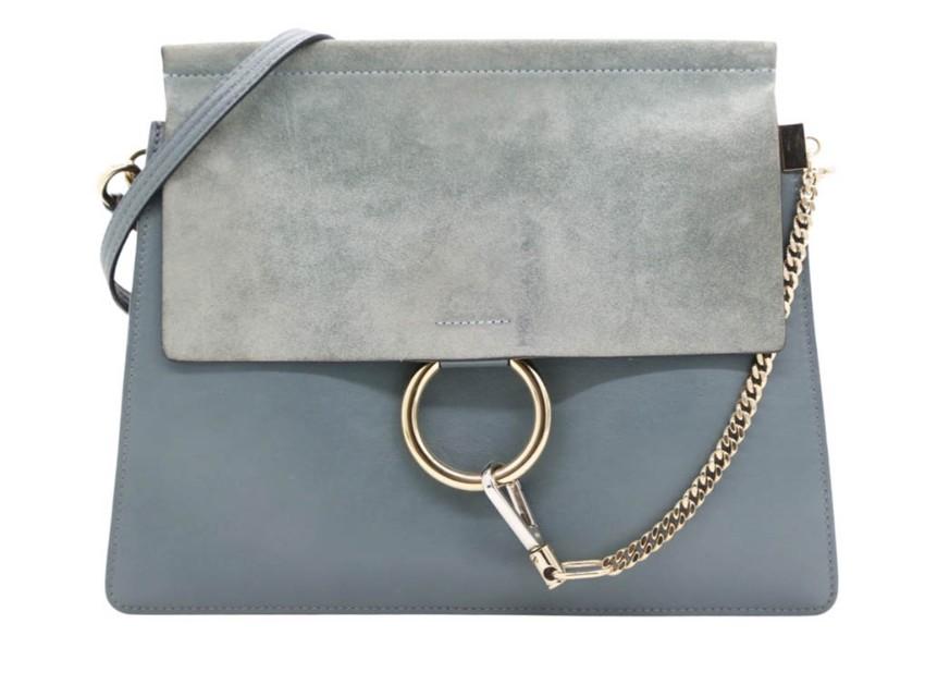 Chloe Blue Leather & Suede Faye Shoulder Bag