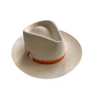 Hermes Orange Ombre Band Straw Panama Hat - Size 57