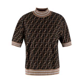 Fendi All-Over Logo Jacquard Short Sleeve Knit Sweater