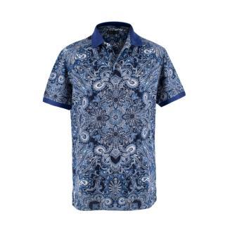 Etro Royal Blue Floral Paisley Cotton Pique Polo Shirt