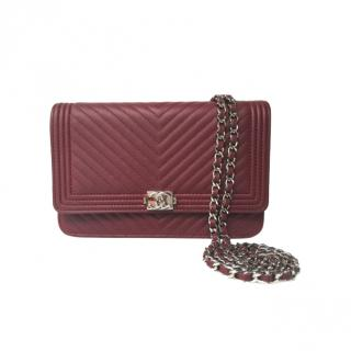 Chanel Burgundy Chevron Leather Boy Wallet on Chain