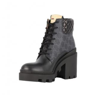 Gucci Black Supreme Quilted Heeled Combat Boots
