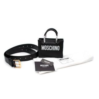 Moschino Black Smooth Leather Logo Print Mini Top Handle Belt Bag