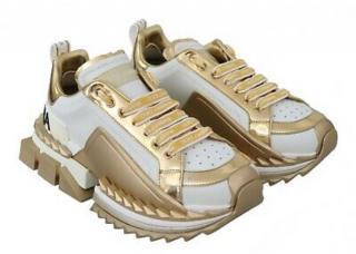 Dolce & Gabbana White & Gold Metallic Chunky Platform Sneakers