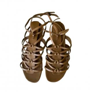Yves Saint Laurent Leather Strappy Flat Sandals