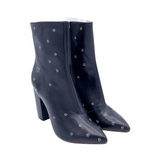 Raye Black Star & Moon Embroidered Ankle Boots